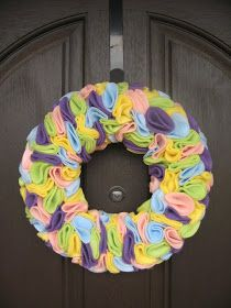 Remember when the Idea Room showed you how to make the heart wreath  made out of felt? Well, we took the same idea and made a pastel easter ...