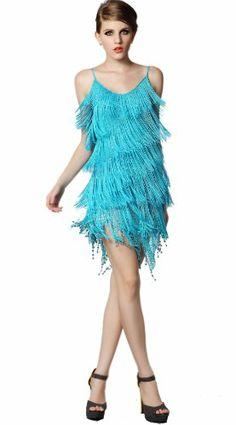Women'S Strap Sequined Tassels Latin Tango Rumba Dance Mini Dress Pure 4 Colors #dance #tango #rumba