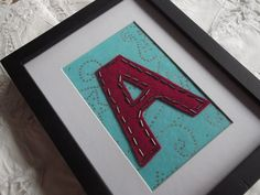 Personalised red beaded letter A on blue patterned by MadeByAmelie, £7.50