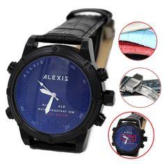 AW802E Hälytys taustavalo vesitiiviit Unisex Kaksoiskellonajan Alexis Analog Digital Watch