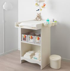 IKEA SOLGUL changing table Comfortable height for changing the baby. Ikea Changing Table, Nursery Layout, Nursery Ideas, Affordable Furniture, Baby Bedroom, Baby Design, Quality Furniture, Decorating Your Home, Storage Spaces