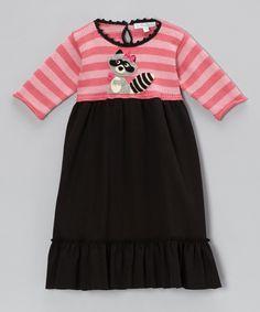 Look what I found on #zulily! Pink & Black Stripe Raccoon Swing Dress - Infant, Toddler & Girls by Victoria Kids #zulilyfinds