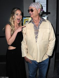 Cool as a cucumber: Bill remained relaxed as he posed beside The Hunger Games star...