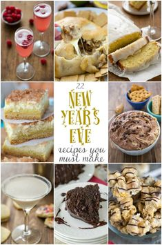 New Years Eve Snacks, New Years Eve Menu, New Year's Snacks, New Years Eve Dessert, New Year's Eve Appetizers, Appetizer Party, New Year's Desserts, Dessert Recipes, Yummy Recipes
