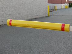 Installed Gate Arm Guard - Yellow with Red Stripe