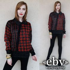 #Vintage #80s #Metallic #Sweater #Jumper #Houndstooth Sweater S M L by #shopEBV http://etsy.me/14OzeQB via @Etsy #etsy, $48.00