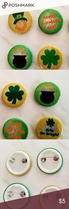 """St. Patrick Day Buttons Bundle of 8 St. Patty's Day Irish pin buttons. 4 green, 4 yellow. 1 button has slight bubble/bump on the back (pic 4). Each button is 1"""" diameter. Show your Irish (or Irish-for-a-Day) pride! Jewelry Brooches"""
