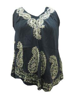 Black Batik Embroidered V-neck Sleeveless Flared Hem Blouse Onesize Beach Wear Dresses, Hippie Dresses, Boho Dress, Summer Dresses, Bohemian Dresses, Bohemian Tops, Bohemian Style, Bohemian Fashion, Tie Dye Dress