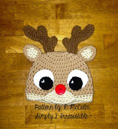 Rudolph Reindeer Hat - Crochet Pattern 57 - US and UK Terms - Beanie and Earflap - Newborn to Adult - buy