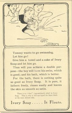 1907 Ad Ivory Soap Let Son Tommy Swim And Bathe in the Pond..boys will be boys