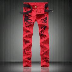 Cheap classic jeans men, Buy Quality printed jeans directly from China slim fit jeans Suppliers: High Quality Red Print Jeans Men Moto Zipper Rap Jeans 2017 New Mens Pants Slim Fit Jeans Men Biker Denim Red Classic Jean men Red Jeans, Denim Jeans, Jeans Pants, Stretch Jeans, Hip Hop, Denim Joggers, Jogger Pants, Jeans Fabric, Moda Masculina