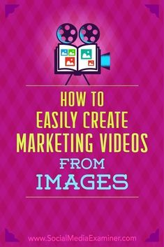 Wondering how to market with video without being in front of the camera? Have you thought about creating video from product and brand images you already have? In this article, youll find two affordable ways to create engaging videos for your business Content Marketing Strategy, Marketing Software, Mobile Marketing, Facebook Marketing, Inbound Marketing, Marketing Digital, Business Marketing, Online Marketing, Social Media Marketing