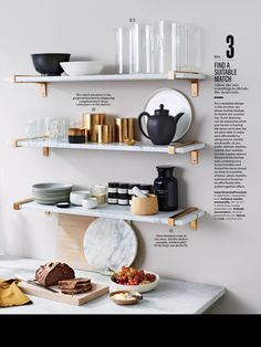 marble open shelving in the kitchen