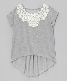 Gray Lace Hi-Low Top//