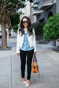 Blogger The Fancy Pants Report pairs a Gap chambray shirt with classic black and white.