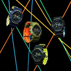 """Fresh out of the spray can with some cool vibrant colors - Casio G-Shock Layered Neon. This more accessible collection distinguishes itself with new colors apparently achieved through a """"bi-color molding process."""" Find out more in our latest article. Casio G-shock, Casio Watch, G Shock Mudmaster, Discount Watches, Swiss Made Watches, Dream Watches, Spray Can, Neon Colors, Vibrant Colors"""