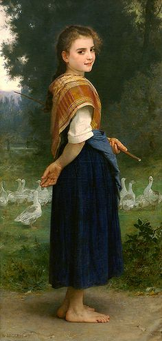 Learn more about The Goose Girl 1891 William-Adolphe Bouguereau - oil artwork, painted by one of the most celebrated masters in the history of art. William Adolphe Bouguereau, Painting Of Girl, Figure Painting, Painting & Drawing, Beaux Arts Paris, Munier, Pics Art, Beautiful Paintings, Love Art