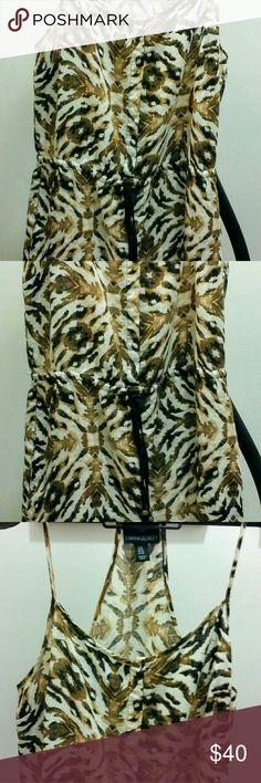 Linen Animal Print Dress Printed dress with side pockets with draw string waist Cynthia Rowley Dresses Midi