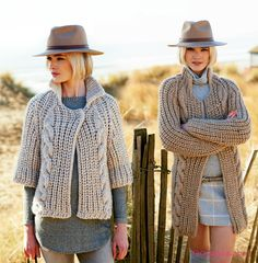 Knit a Cardigan with Rico Creative Twist! Free Knitting Pattern of these sturdy, chunky Cardigans!