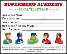 Freeprintablesuperherotemplates certificates for kids superhero party training certificate yadclub Images