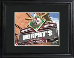 Personalized mlb pub sign with wood frame