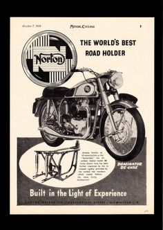OCTOBER 1954 1955 MODEL NORTON DOMINATOR 88 DELUXE MOTORCYCLE 500 TWIN.MAG AD