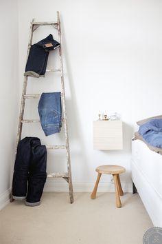 Denim storage/display: a ladder (from 8 Ways to Organise Your Denim)