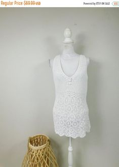 50% OFF FALL SALE Vintage White Crochet Lace Woven Sheer Stretch Minimalist V Neck Sleeveless Tank Top Shirt Sweater Blouse Xl Plus Size by WearingMeOutVtg on Etsy