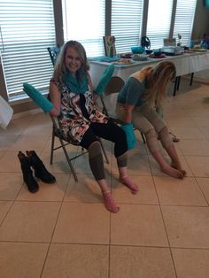Bridal Shower game. Put panty hose on with mittens & first one wins!