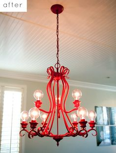 painted chandelier - I really like this idea