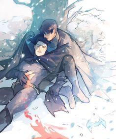 Nightwing protecting Batman