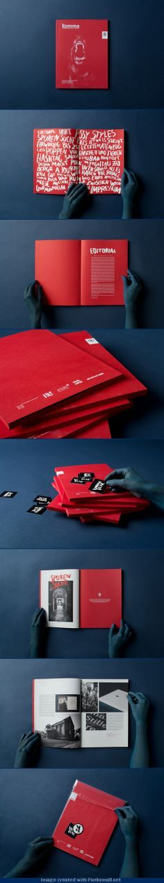 Komma | Fresh design with full red background and white typo, #brochure #editorial #design