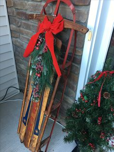 Vintage sled decorated for Christmas