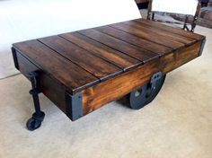 Knock off a Restoration Hardware factory cart coffee table & save.