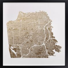 """Love this gold leaf map of San Francisco by Alex Elko Design, on Minted.com (8""""x8"""" or 11""""x11"""")"""