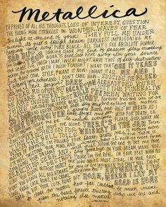 Metallica Lyrics and Quotes  8x10 handdrawn and handlettered