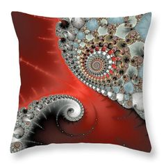 "Fractal Spiral Art Red Grey And Light Blue Throw Pillow by Matthias Hauser. Our throw pillows are made from 100% spun polyester poplin fabric and add a stylish statement to any room. Pillows are available in sizes from 14"" x 14"" up to 26"" x 26"". Each pillow is printed on both sides (same image) and includes a concealed zipper and removable insert (if selected) for easy cleaning."