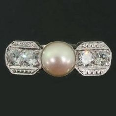 Deco platinum, diamond, pearl c 1930