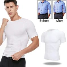 US Men Tummy Control Body Shapers Abdomen Chest Compression Vest Shirt Shapewear Nylons, Body Shaper For Men, Glamour Party, Corset, Compression T Shirt, Spandex, Shapewear, Underwear, Men Wear