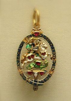 The Lesser George enameled gold pendant, England, century British Medals, Saint George And The Dragon, Royal Art, Renaissance Jewelry, Glitz And Glam, Crown Jewels, Faded Glory, Animal Jewelry, 17th Century