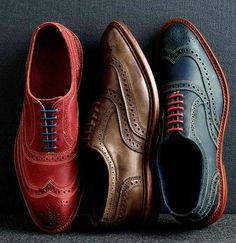 Wingtip brouges in bold colors. The red will look fashionable for a few years, perhaps. The blue maybe a bit longer. The brown is an example of a classic that while fashionable now, has been and likely will be for life.