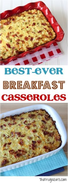 Planning a delicious Brunch?  You'll LOVE these Best Ever Breakfast Casserole Recipes! Bacon Lover's Hashbrown and Egg Casserole Recipe Overnight Breakfast Sausage and Egg Casserole Recipe Southwes...