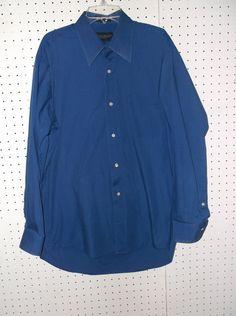 GIORGIO BRUTINI COLLEZIONE Blue Dress Shirt Size MEDIUM (15-15.5) 32/33 #GiorgioBrutini