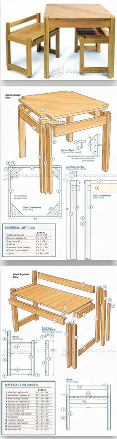 Kitchen Table and Bench Plans - Furniture Plans and Projects | WoodArchivist.com