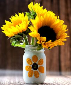 Thumbprint Flower Mason Jar - Sunflower Mason Jar Craft - Flower Mason Jar Craft