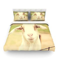 East Urban Home Happy Goat Smiling Animal by Angie Turner Featherweight Duvet Cover Size: