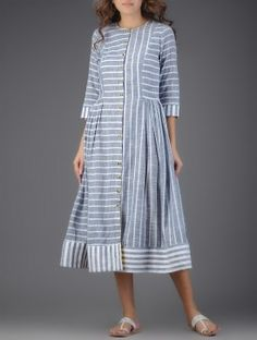 Ivory-Blue Striped Button-down Cotton Dress with Gathers