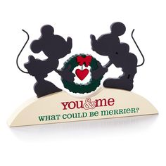 Mickey Mouse and Minnie Mouse Silhouette Plaque, , large #Hallmark12Gifts