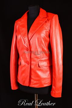 £130 - Ladies sophia red lambskin leather 2 button smart classic casual blazer blouson jacket