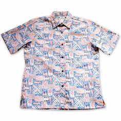 Olukai Orange Hawaiian Reverse Shirt   #hawaiianshirt #hawaiianshirts #floralshirt #madeinhawaii #alohashirt